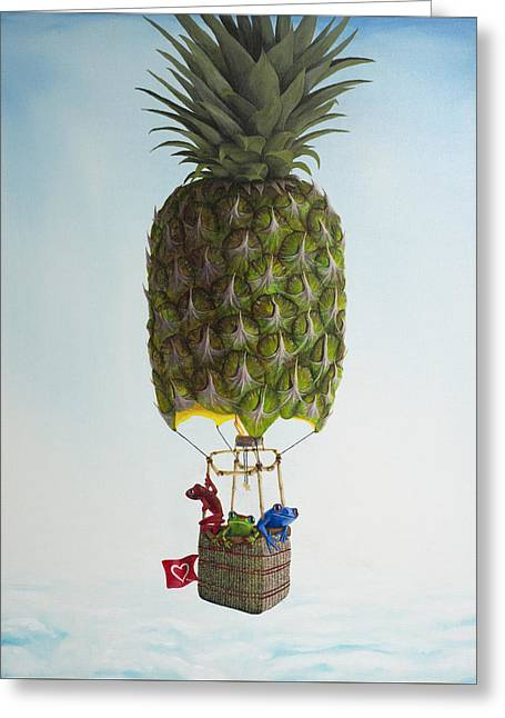 Three Frogs And A Pineapple Greeting Card by Daniel Wall