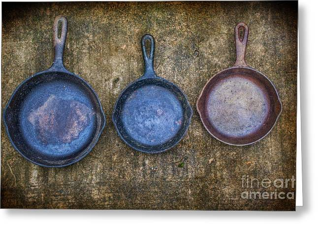Three Frying Pans Greeting Card by Randy Steele