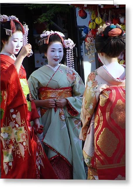 Three Geisha Greeting Card by Emma Manners