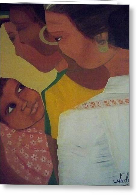 Greeting Card featuring the painting Three Generations by Nicole Jean-Louis