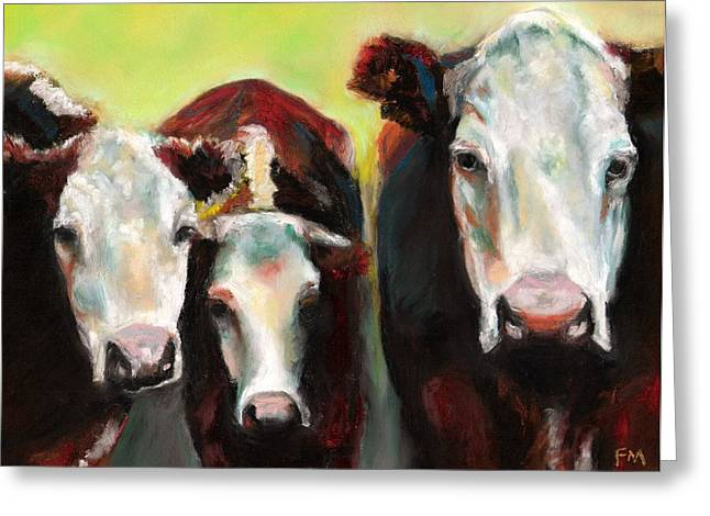 Cow Drawings Greeting Cards - Three Generations of Moo Greeting Card by Frances Marino