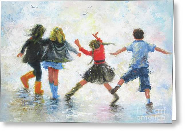 Three Girls And Boy Greeting Card by Vickie Wade