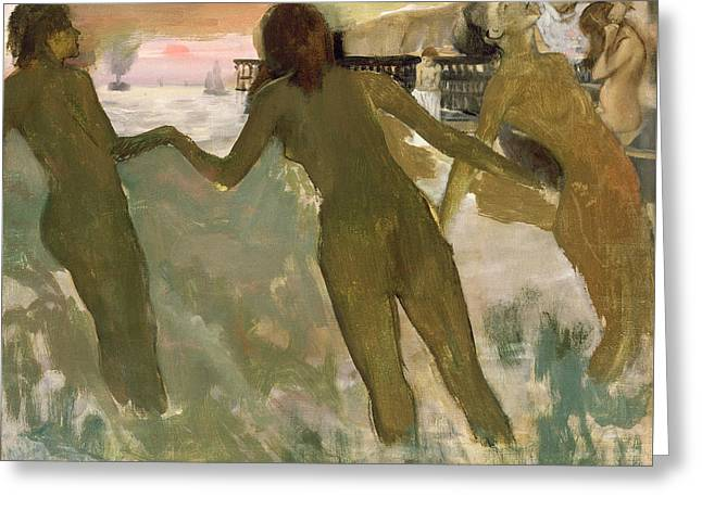 Three Girls Bathing Greeting Card by Edgar Degas