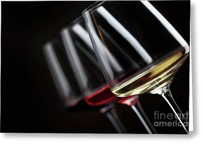 Three Glass Of Wine Greeting Card by Jelena Jovanovic