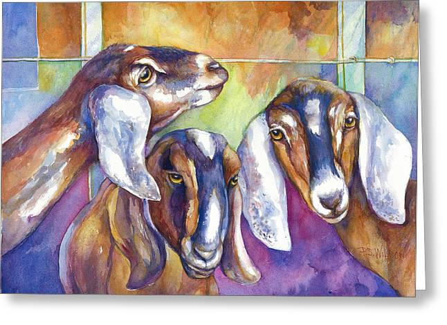 Three Goats Greeting Card by Peggy Wilson