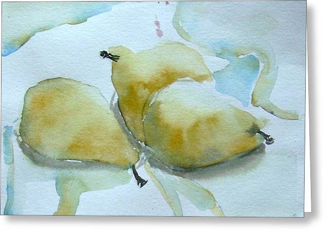 Three Gold Pears Greeting Card by Mindy Newman