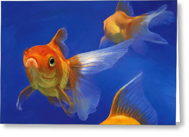Three Goldfish Greeting Card