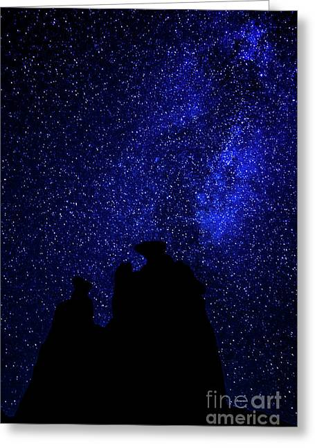 Three Gossips And The Milky Way - Arches National Park Greeting Card by Gary Whitton