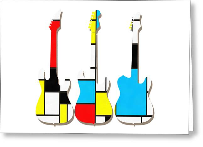 Three Guitars Modern Tee Greeting Card by Edward Fielding