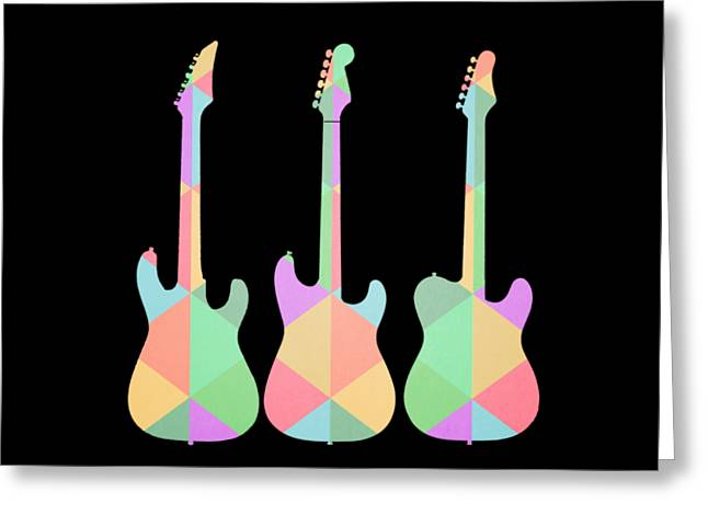 Three Guitars Triangles Tee Greeting Card by Edward Fielding