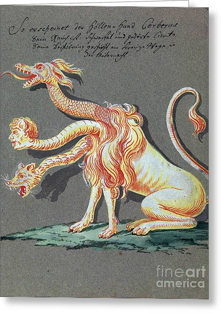 Three Headed Monster, 18th Century Greeting Card by Wellcome Images