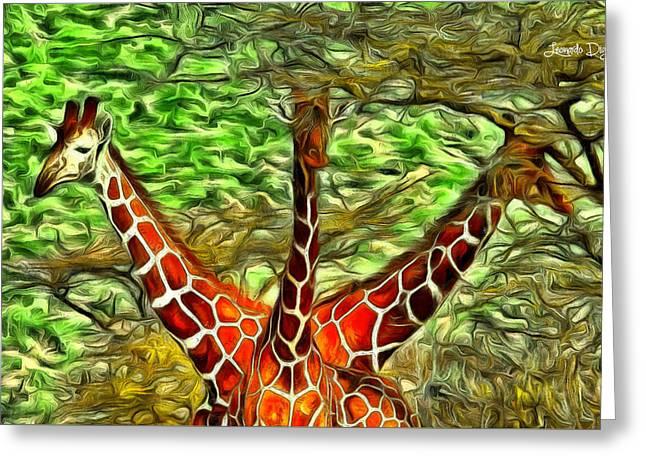 Three Heads Giraffe - Da Greeting Card by Leonardo Digenio