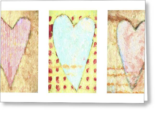 Three Hearts Triptych Greeting Card by Carol Leigh