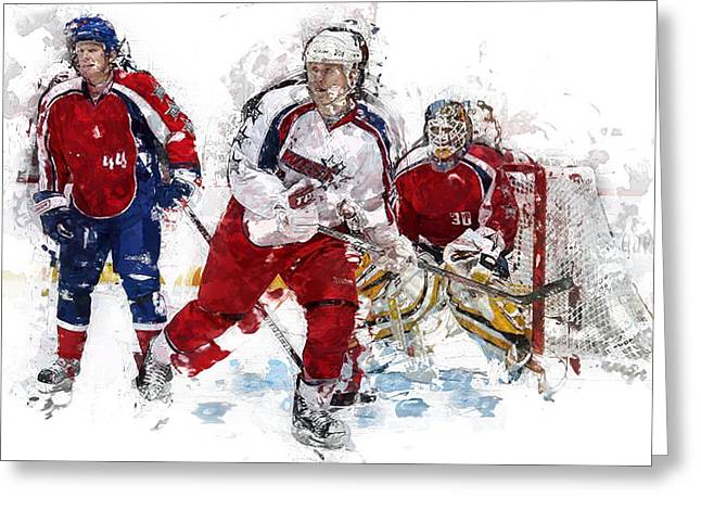 Three Hockey Players At The Goal Greeting Card by Elaine Plesser