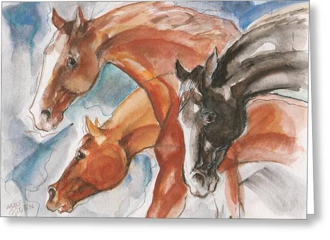 Three Horses Greeting Card