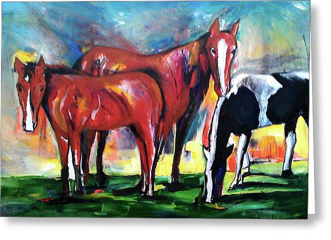 Three Horses Sunny Day Greeting Card
