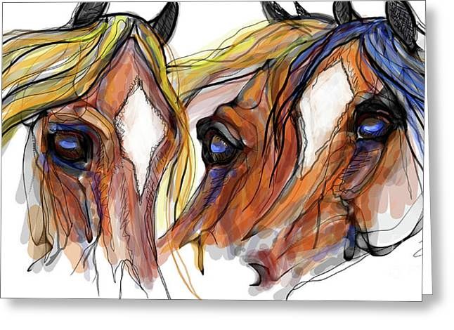 Three Horses Talking Greeting Card by Stacey Mayer