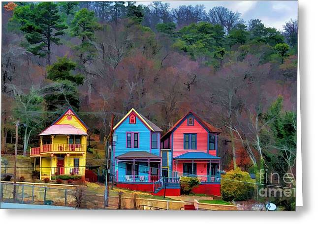 Greeting Card featuring the photograph Three Houses Hot Springs Ar by Diana Mary Sharpton