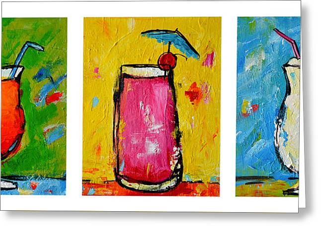 Three In A Row Happy Hour Time Greeting Card by Patricia Awapara