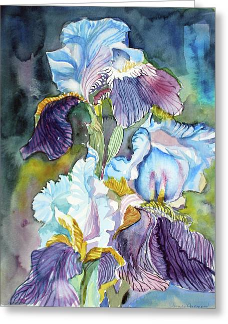 Three Irises Greeting Card