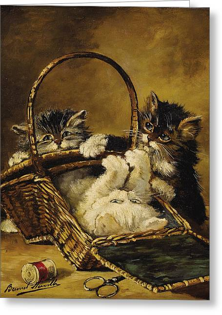 Three Kitten Playing With A Basket For Needlework Greeting Card by MotionAge Designs