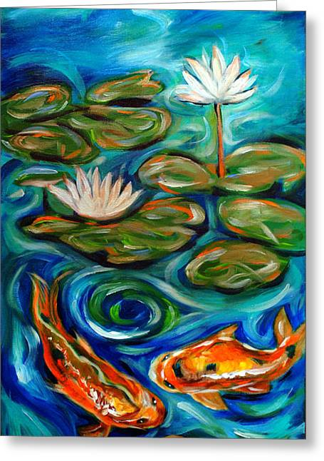 Greeting Card featuring the painting Three Koi by Linda Olsen
