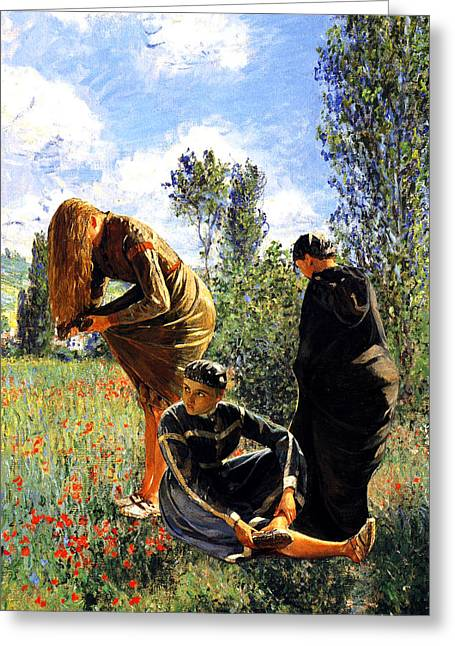 Three Ladies In A Field Greeting Card by John Vincent Palozzi