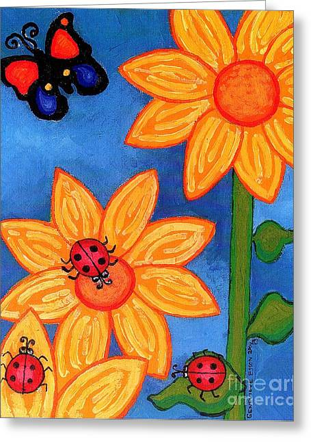 Three Ladybugs And Butterfly Greeting Card by Genevieve Esson