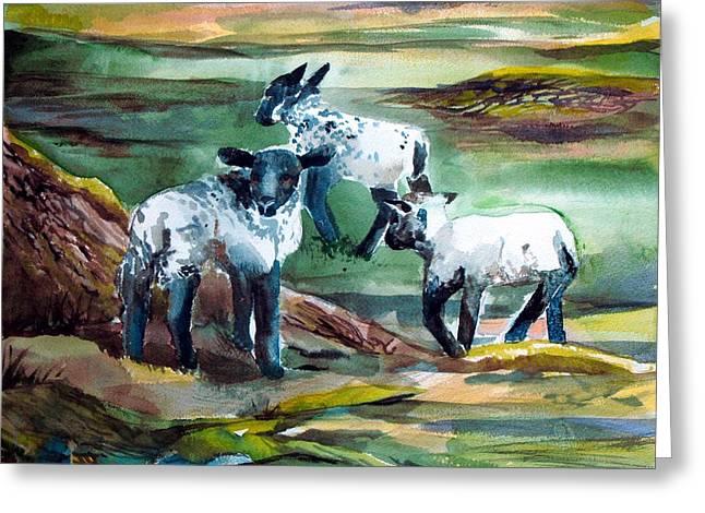 Three Lambs Greeting Card by Mindy Newman