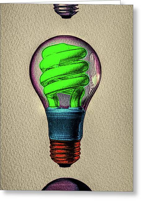Three Light Bulbs Greeting Card by Bob Orsillo
