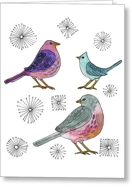 Three Little Birds Greeting Card by Blenda Studio
