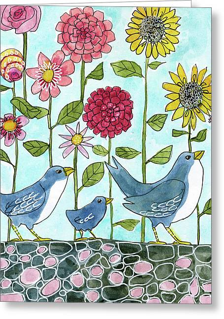 Three Little Birds Flowers Greeting Card by Blenda Studio