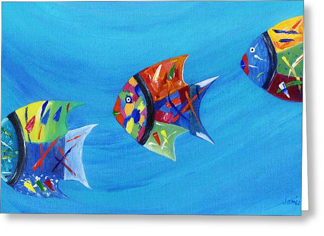 Greeting Card featuring the painting Three Little Fishy's by Jamie Frier