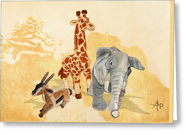 Three Little Friends Greeting Card by Angeles M Pomata