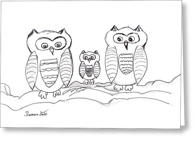 Three Little Owls Greeting Card by Ramona Matei