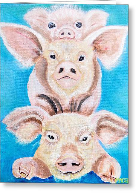 Three Little Pigs Greeting Card by Melissa Torres