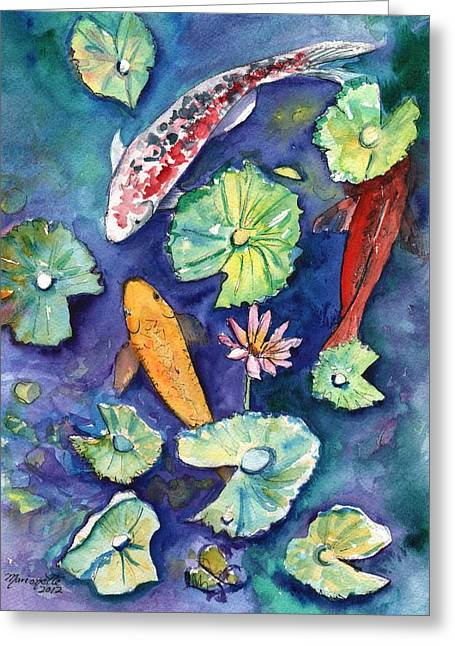 Three Lucky Koi Greeting Card by Marionette Taboniar