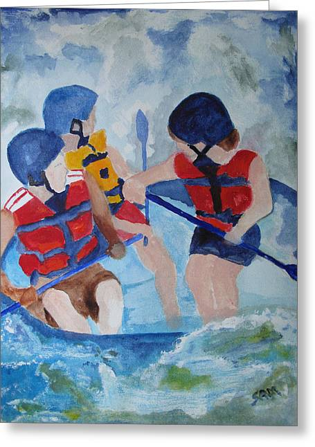 Greeting Card featuring the painting Three Men In A Tube by Sandy McIntire