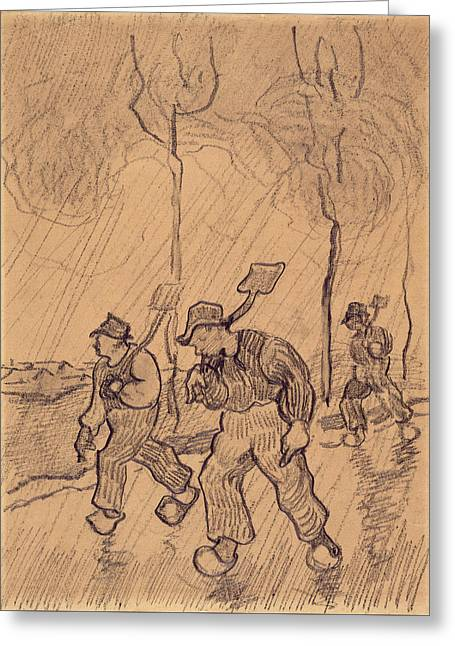 Three Men Shouldering Spades On A Road In The Rain, 1890 Greeting Card by Vincent Van Gogh