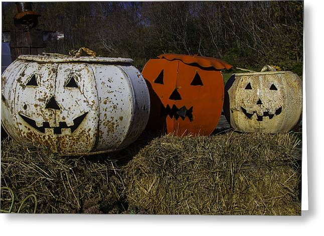 Three Metal Pumpkins Greeting Card by Garry Gay