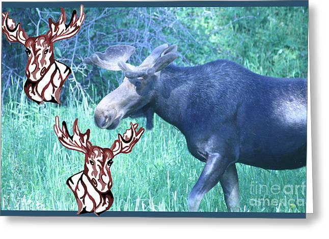 Three Moose Greeting Card