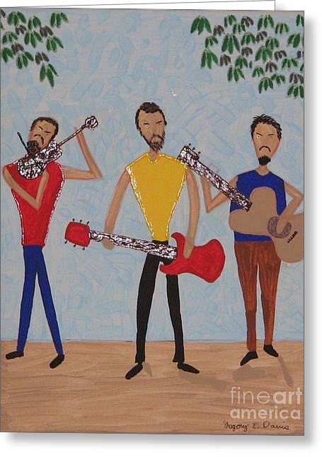 Three Musicians Greeting Card by Gregory Davis