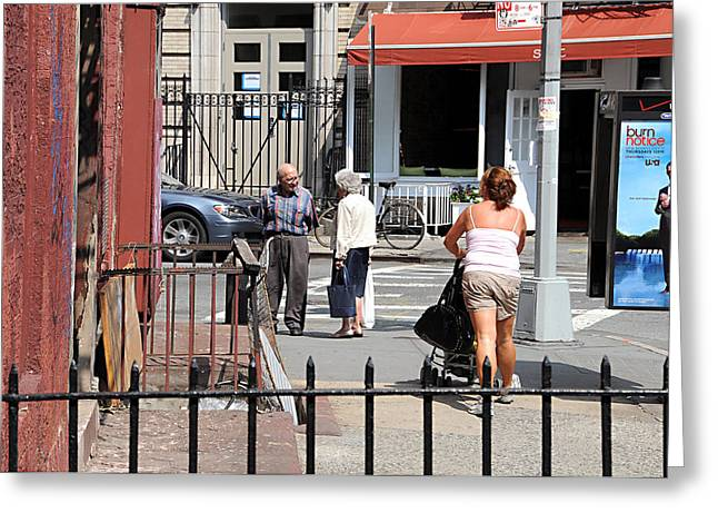 Three On The Street Greeting Card by JoAnn Lense