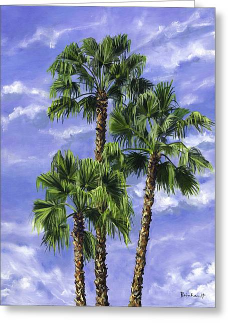 Three Palms Greeting Card by Lisa Reinhardt