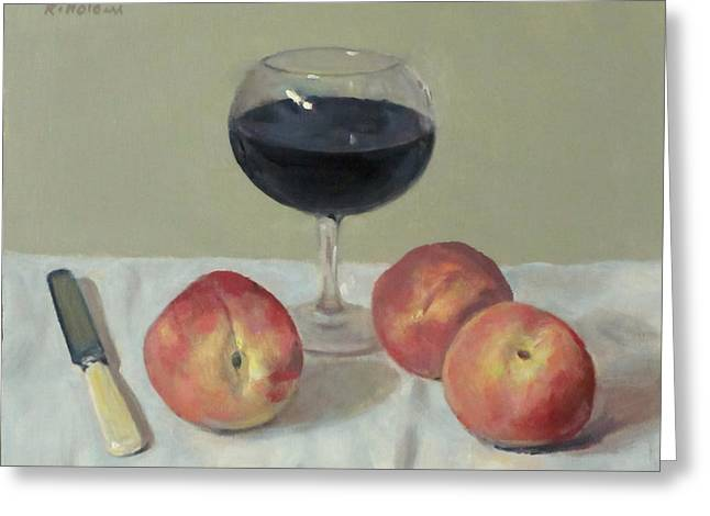 Three Peaches, Wine And Knife Greeting Card