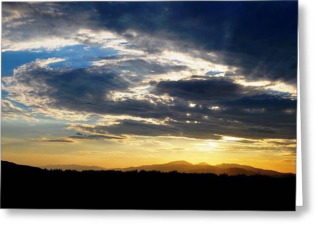 Three Peak Sunset Swirl Skyscape Greeting Card