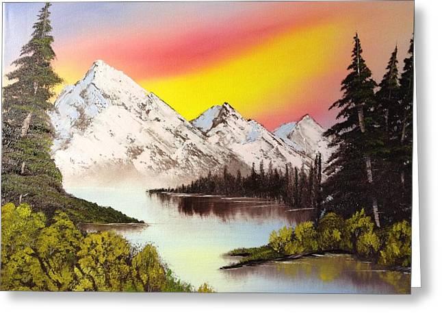 Three Peaks Greeting Card by Casey Barnes