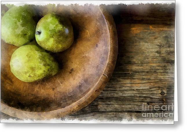 Three Pear Still Life Greeting Card by Edward Fielding