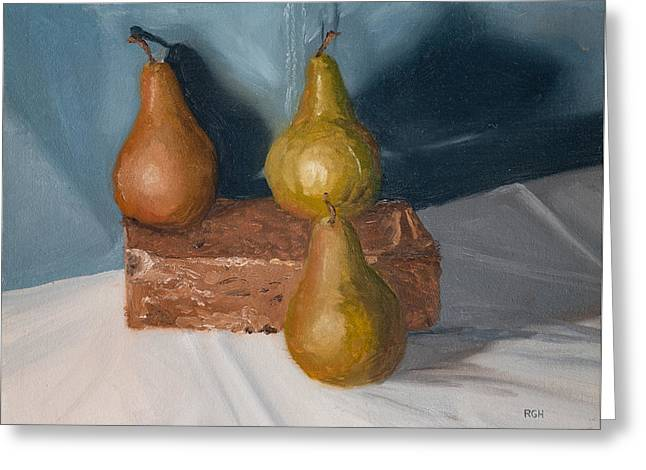 Greeting Card featuring the painting Three Pears by Break The Silhouette