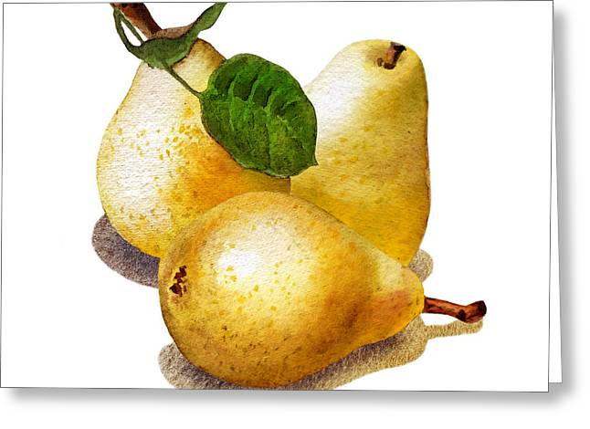 Three Pears Greeting Card by Irina Sztukowski